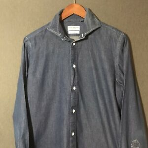 Spier & Mackay Blue Cotton Handmade Slim Fit Button Down Dress Shirt 15.5 US