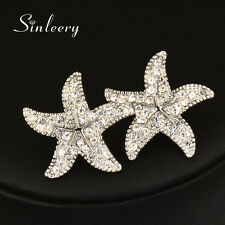 Fashion Zircon Starfish Earrings Stud For Women 18K Yellow/White Gold Es651