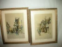 VICTORIAN DICKENS ENGLISH STREET SCENES TINTED PRINTS 1920's WOOD FRAMES RARE