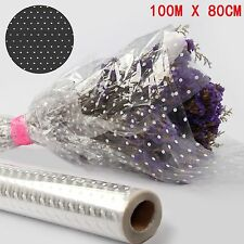 100M X80CM WHITE DOT CELLOPHANE ROLL FLORIST CRAFT FILM PLAIN WRAP GIFT HAMPER
