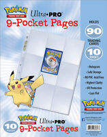 ULTRA PRO Embossed Pikachu 9 Pocket Pages Sleeves Pokemon TCG Card Storage x 10