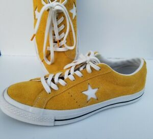 Converse Ox Retro One Star Yellow Raw Suede Leather Mens SZ 9.5 Sneakers SUPERB
