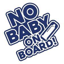 """NO BABY ON  BOARD"" Funny Hilarious Car Bumper Vinyl Decal Sticker Blue Metallic"