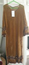 Zara crochet knit tunic  limited edition small tall embroidered border and arms