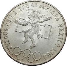 1968 Mexico XIX Olympic Games Aztec Ball Player BIG 25 Pesos Silver Coin i72004