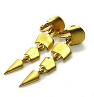 Vintage Napier 1980s gold plated clip on turn screw droplet earrings EPJ1095