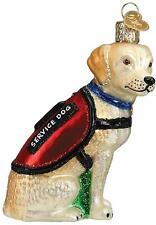 Service Dog Ornament Old World Christmas Glitter Accents New Yellow Labrador