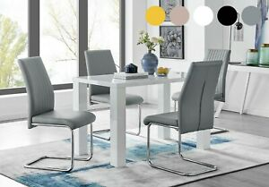 PIVERO White High Gloss Dining Table Set And 4 Faux Leather Dining Chairs Seater