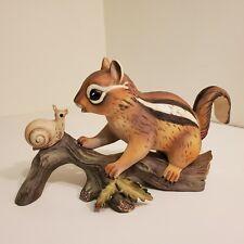Homco Chipmunk & Snail Figurine Masterpiece Porcelain