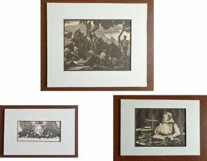 THREE ORIGINAL CLARE LEIGHTON 1920s/1930s WOODCUT PRINTS MOUNTED & FRAME READY