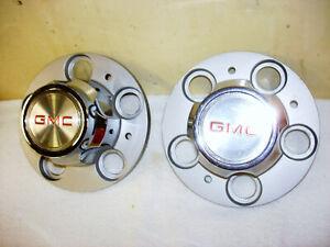NOS 2 GMC RED LOGO - 74-87 Chrome Wheel Center Cap 14018280 14018276
