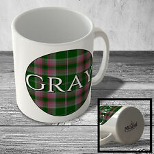 MUG_CLAN_583 GRAY (Gray surname Hunting Tartan) (circle background) - Scottish M