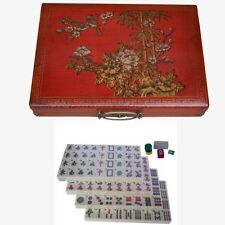 New Chinese Mahjong Set in Red Deluxe Painted Case  (MJ-ER)