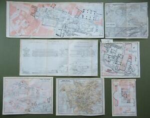 Italy 6 Ancient Rome City Plans Roman Baths Forum of Caesar Antique Maps 1909