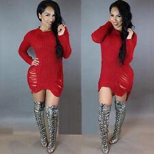 Womens Oversize Long Sleeve Sweater Baggy Sweatshirt Jumper Mni Dress Long Tops