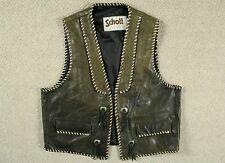 VTG SCHOTT SPORTSWEAR LEATHER WESTERN MOTORCYCLE VEST WAISTCOAT JACKET USA LARGE
