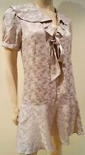 PAUL & JOE SISTER Pale Pink Floral Sheen Silk Cotton Tie Neck Dress 38 UK10 BNWT