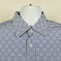 Bugatchi Uomo Shaped Fit Blue Geometric Striped Mens Dress Button Shirt Large L