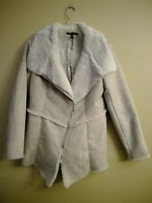 NWT WHITE HOUSE BLACK MARKET Faux Suede Shearling MEDIUM Gray Zipper #06002
