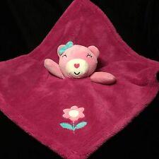 Baby Gear Hot Pink Bear Lovey Security Blanket Girl Plush Flower