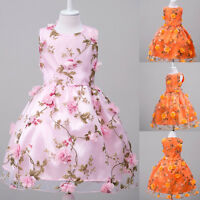 Kids Baby Floral Party Dresses Princess Prom Pageant Wedding Flower Girl Dress