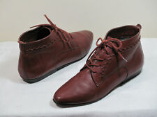 Ellemenno Booties womens 7M Brown Leather Upper Flats Boots 21306 vintage granny
