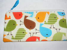 'Bermuda Birds' fabric Handmade Make up / Pencil Case