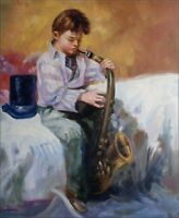 Quality Hand Painted Oil Painting Boy Playing Saxophone 20x24in