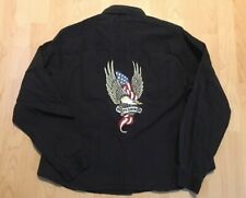 Women's Vintage Harley Davidson Black Embroidered Longsleeve XL RARE
