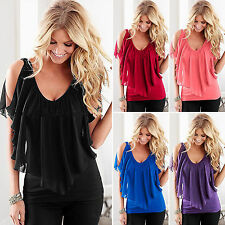 Women V Neck Cold Shoulder Blouse Summer Beach Chiffon Loose Casual T-shirt Tops