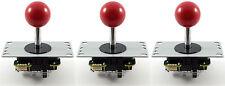 3 x Genuine Sanwa JLF-TP-8YT Ball Top Arcade Joysticks, 4/8 Way (Red) MAME JAMMA
