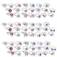 20/50/100 pcs Adjustable Wholesale Mix Crystal Children Kids Rings Tail Ring