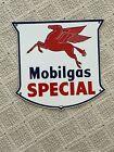 "Mobilgas Special Shield Porcelain Sign Pegasus Logo 12""x12"""