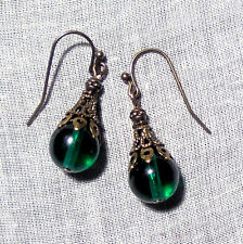 BRASS FILIGREE EMERALD GREEN GLASS EARRINGS RENAISSANCE EDWARDIAN VICTORIAN GOLD