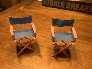 2 VINTAGE 1988 BARBIE DOLL CAMP RV FOLDING CAPTAIN CHAIRS