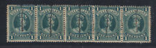 Qld 1 Pound Green Strip 5 1889? Thick Paper Hand Cancelled And Also Blue Box.