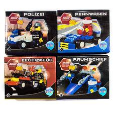 4er Set Fahrzeuge & Spielfiguren,Auto,Polizei,Geeignet für Steck- Legespiele,NEU