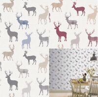 Arthouse Country Stag Wallpaper in Natural, Red Cream and Blue Grey