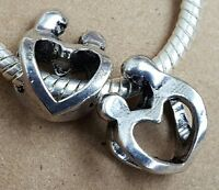 2 Mother Child Silhouette Heart Family Love Sculpture European Bead Charms Gift