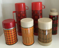 Lot Of 6 Vintage Metal Red & Gold Plaid Thermos Aladdin King-seely Quart Pint