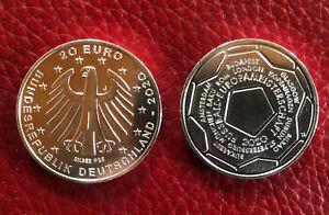 20 EURO Silber-Gedenkmünze Fussball-EM 2021 BRD Deutschland 2020 -J-Stempelglanz