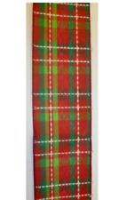 10yd Roll 'Red/Green Tartan' Fabric Wire Edge Christmas Ribbon 2.5in Wide