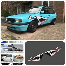 Car 59'' Full Size Red Grey Shark Mouth Tooth Teeth Reflective Sticker Vinyl