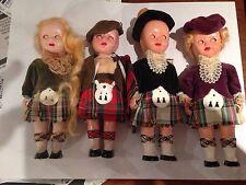 Set of 4 vintage Scottish celluloid dolls