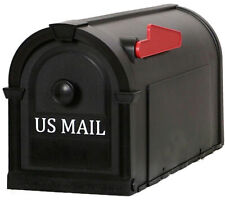 Post Mount Mailbox Black Gold Letters Durable Decorative Rust Proof Plastic