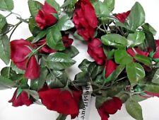 """2 VERY LONG   8FT 4""""  deep red ROSE FAUX SILK GARLAND WEDDING//ARTIFICIAL FLOWER"""