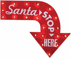 Christmas Home SANTA STOP HERE Sign Incandescent Light 1950's Holiday Wall Décor