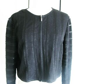 St John Black Metallic  Zip-Up  Knit Cardigan Sweater Size M Jacquard Stripe