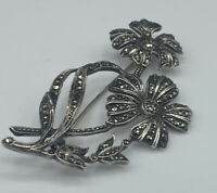 Large Art Deco Hallmarked Solid Sterling Silver Marcasite Floral Brooch