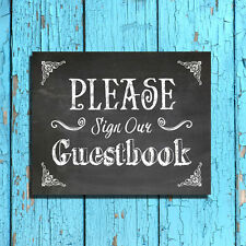 Rustic Wedding Decor Print PLEASE SIGN OUR GUESTBOOK Chalkboard Look Background